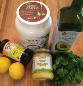 cooking essentials - oils herbs and lemon